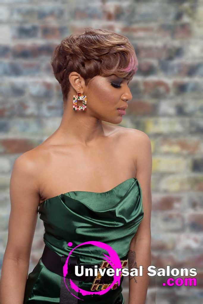 3/4 Model With Short Pixie Cut for Black Women