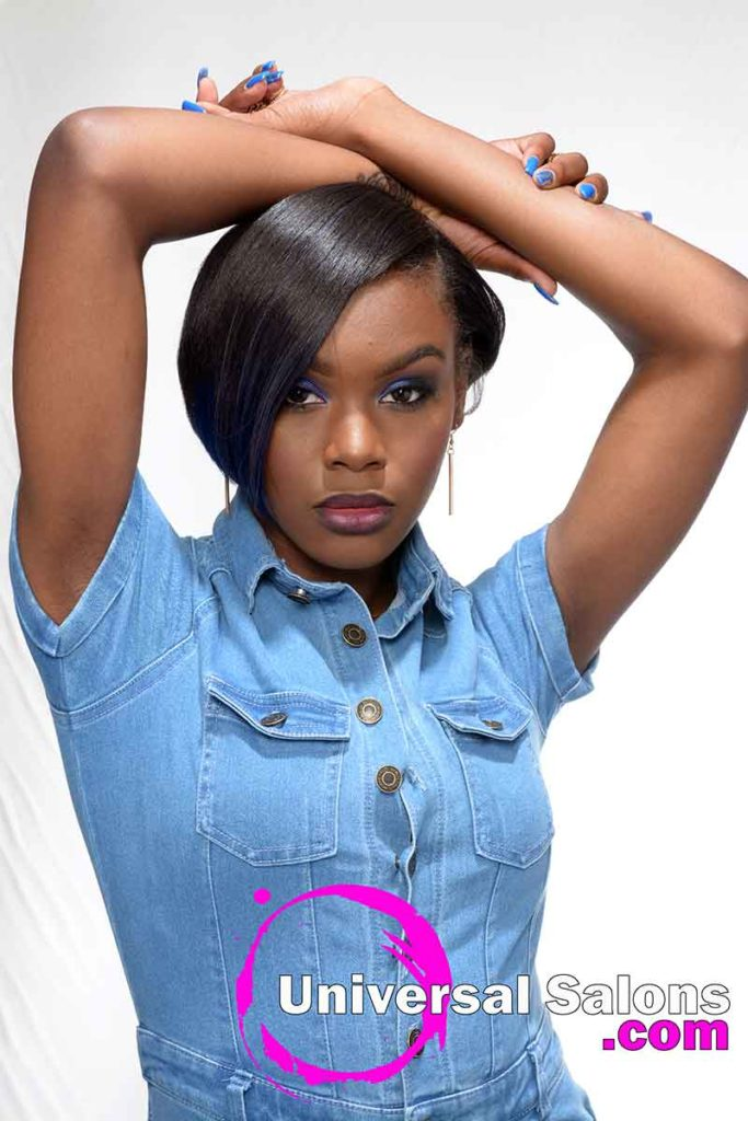 Model With Arms Over Head Silk Press Hairstyle