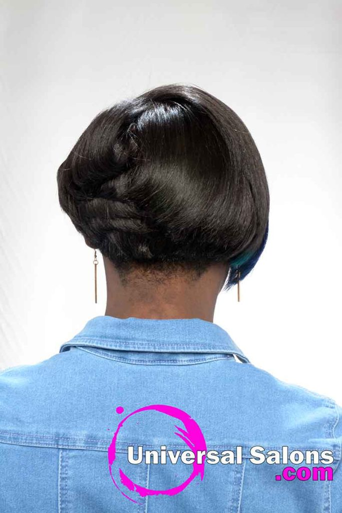 Back View Silk Press With Color Hairstyle