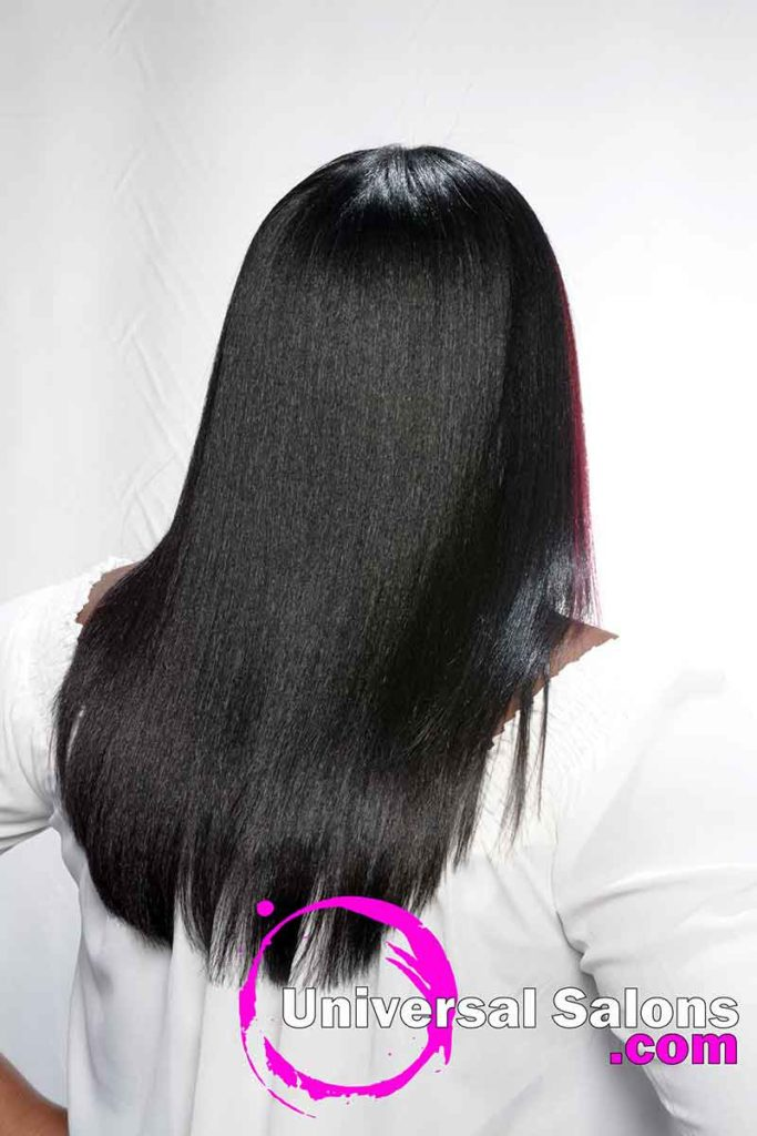 Back View Long Middle Part Silk Press Hairstyle