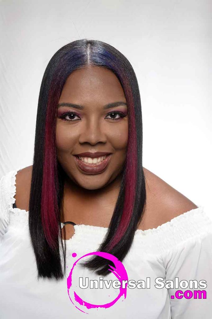 Front view Long Middle Part Silk Press Hairstyle
