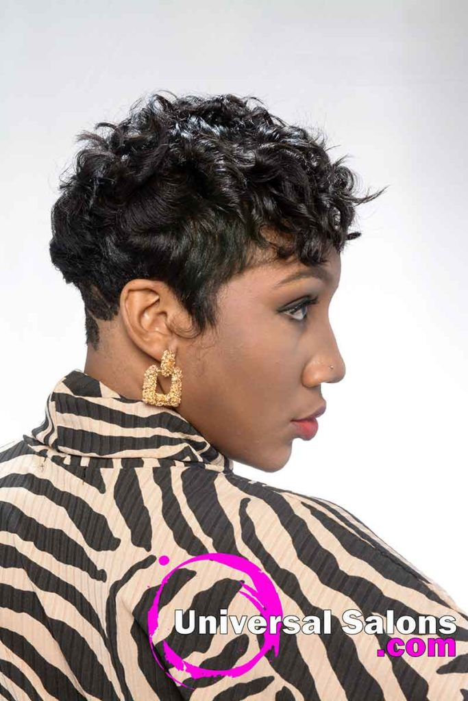 Back Right View Short Hairstyle With Curls for Black Women
