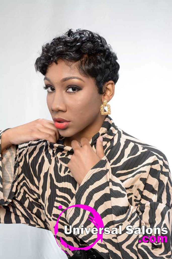 Short Curly Black Hairstyle Model With Hand on Collar