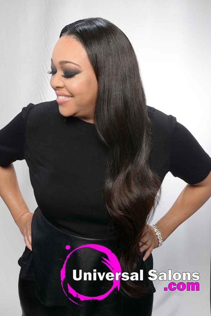 Left View: Long Quick Weave Hairstyle
