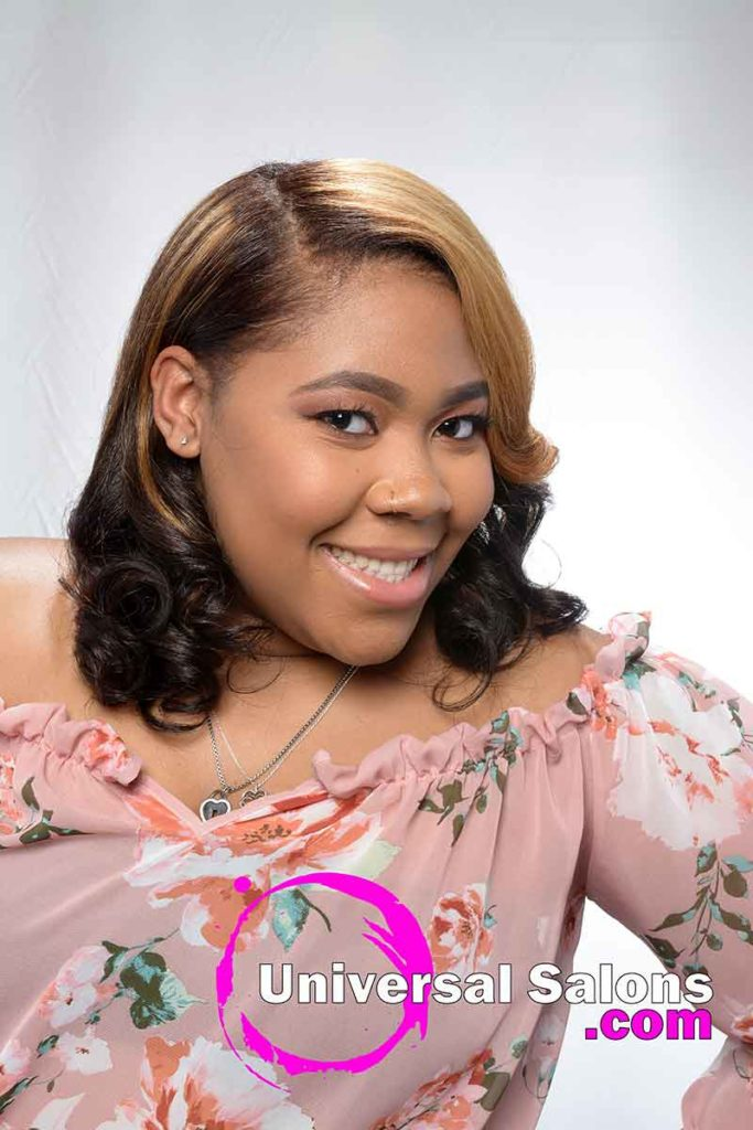 Model Smiling With Honey Blonde Hair Color for Black Women