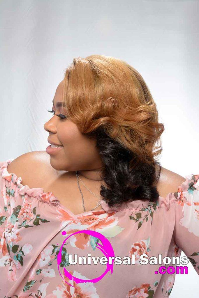 Left Side Honey Blonde Hair Color for Black Women